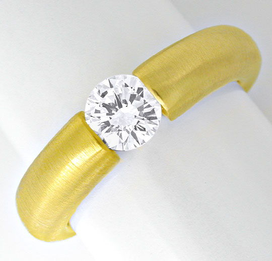 Foto 2, Brillant Spann Ring River D VS 18K Gelbgold Luxus! Neu!, S6310