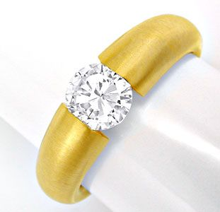 Foto 1, Brillant Spann Ring 1,10ct 18K Extra Massiv Schmuck Neu, S6315