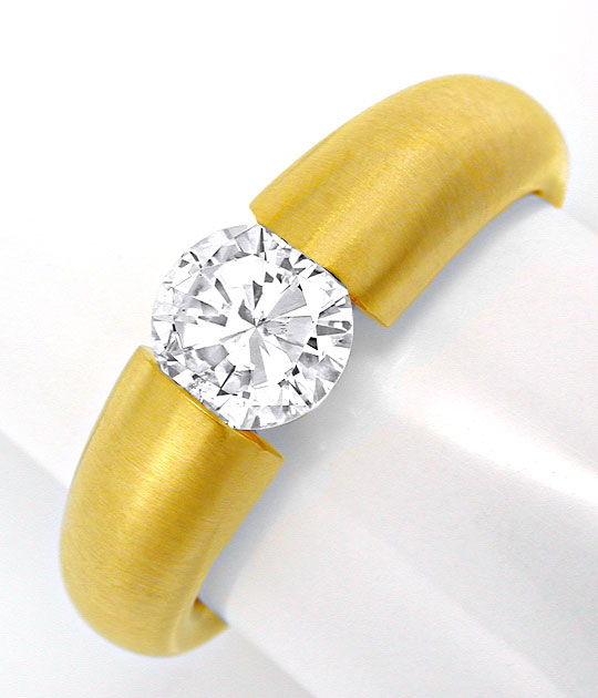 Foto 2, Brillant Spann Ring 1,10ct 18K Extra Massiv Schmuck Neu, S6315