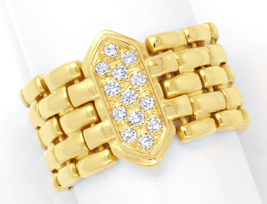 Foto 2, Ketten Diamantring 18K Gelbgold 0,20ct Diamanten Luxus!, S6337