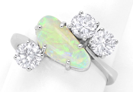 Foto 2, Brillantring 1,2ct River SI Super-Opal Weissgold Luxus!, S6347