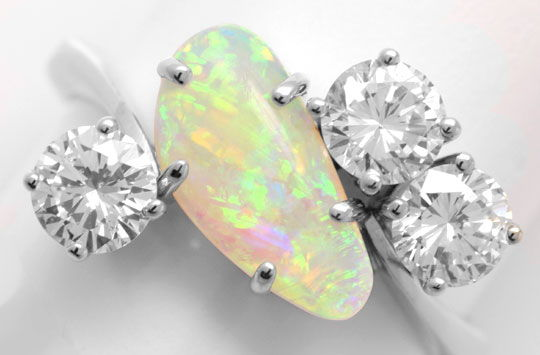 Foto 3, Brillantring 1,2ct River SI Super-Opal Weissgold Luxus!, S6347