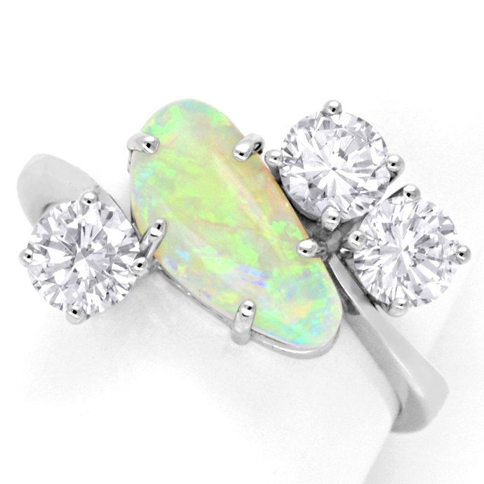Brillantring 1,2ct River SI Super Opal Weissgold Luxus!, Edelstein Farbstein Ring