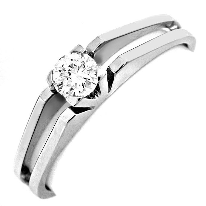 Klassiker Brillant Solitärring River 18K Wg Luxus! Neu!, Designer Ring