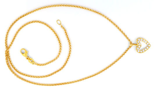 Foto 1 - Brillant Herz Kollier, 18K Gold 0,23ct Diamanten Luxus!, S6404