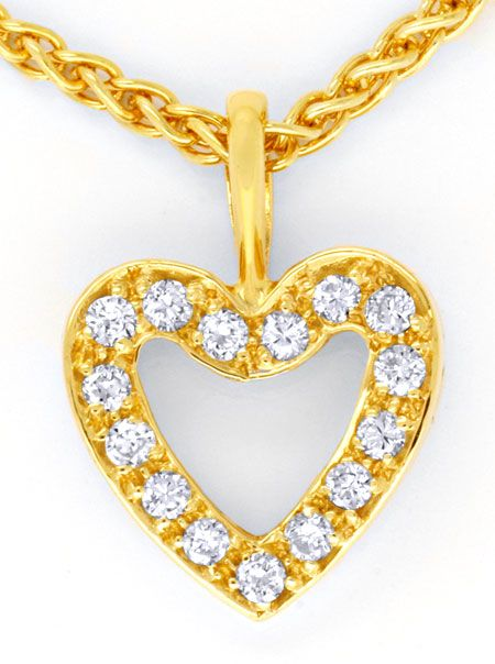 Foto 2, Brillant-Herz-Kollier, 18K Gold 0,23ct Diamanten Luxus!, S6404
