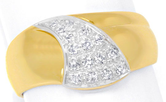Foto 2, Diamantring Top Design 18K Gold 0,20ct Diamanten Luxus!, S6424