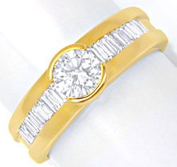 Foto 1, Brillant-Solitär-Ring mit Diamant-Baguetten Luxus! Neu!, S6433
