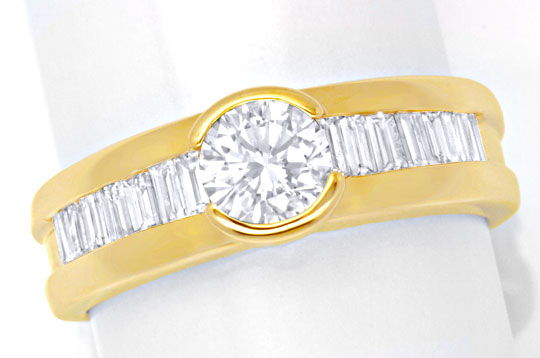 Foto 2, Brillant-Solitär-Ring mit Diamant-Baguetten Luxus! Neu!, S6433
