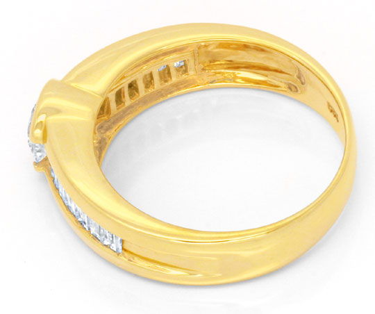 Foto 3, Brillant-Solitär-Ring mit Diamant-Baguetten Luxus! Neu!, S6433