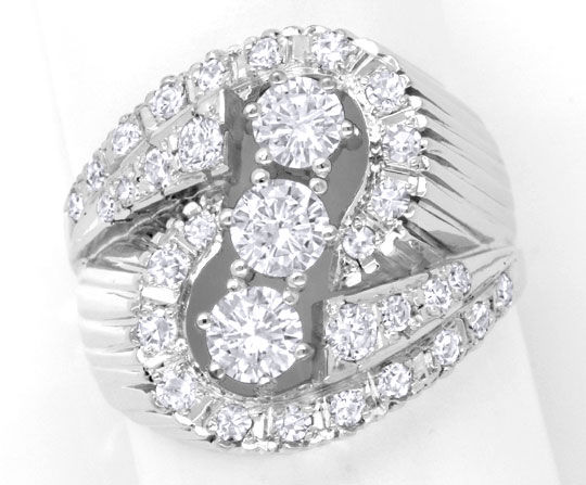 Foto 2, 1A Exklusiver Diamant Ring 18K Weissgold, 1,43ct Luxus!, S6436
