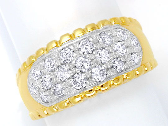 Foto 2, Brillantring Gelbgold 19 Brillanten 0,93ct River Luxus!, S6451