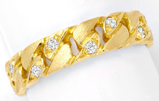 Foto 2, Brillant-Kettenring Gelbgold 8 Diamanten River Shop Neu, S6455