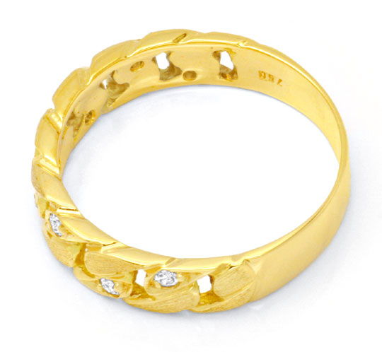 Foto 3, Brillant-Kettenring Gelbgold 8 Diamanten River Shop Neu, S6455