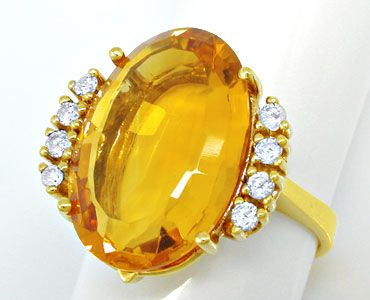 Foto 1, Diamant Brillant Citrin Ring, 14K Gelbgold, Luxus! Neu!, S6463