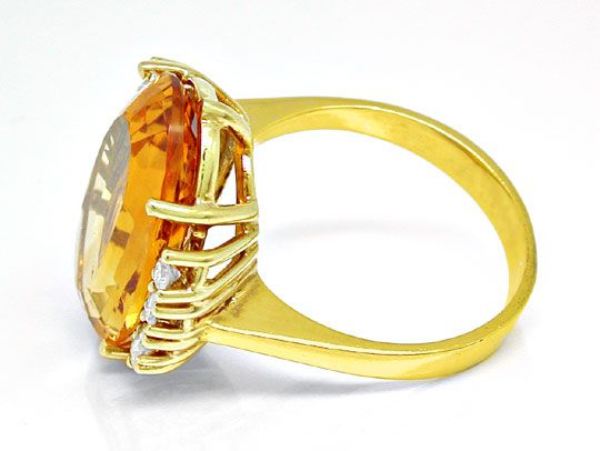 Foto 3, Diamant Brillant Citrin Ring, 14K Gelbgold, Luxus! Neu!, S6463