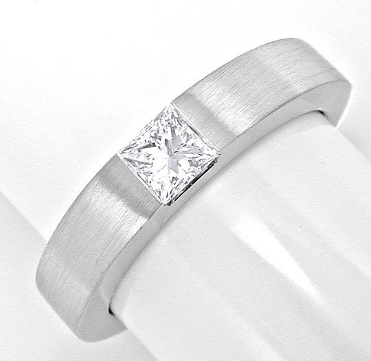 Original-Foto 2, PRINCESS-DIAMANT SOLITÄRRING RIVER WEISSGOLD LUXUS! NEU