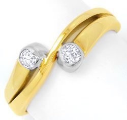 Foto 1, Diamantring 0,35ct Diamanten, Gelbgold Weissgold Luxus!, S6493