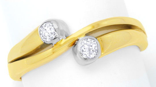 Foto 2, Diamantring 0,35ct Diamanten, Gelbgold Weissgold Luxus!, S6493