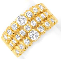 Foto 1, Brillantring, 1,51ct Diamanten, Supermassiv Gold Luxus!, S6494