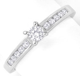 Foto 1, Brillant Ring Weissgold 18K 0,30ct Diamanten Luxus! Neu, S6503