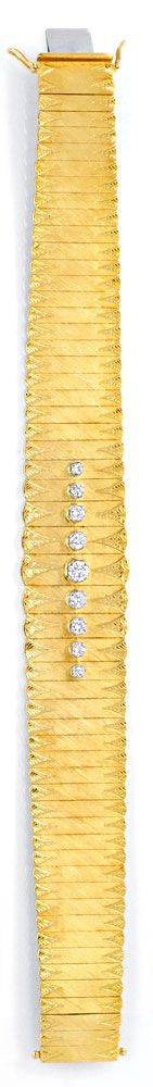 Foto 2, Gold Armband 0,77ct River Brillanten Guillochierung 18K, S6516