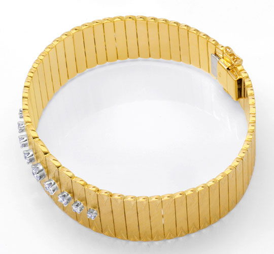 Foto 3, Gold Armband 0,77ct River Brillanten Guillochierung 18K, S6516