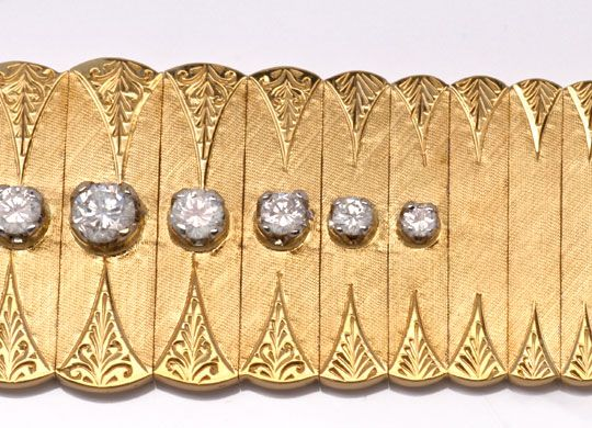 Foto 4, Gold-Armband 0,77ct River Brillanten Guillochierung 18K, S6516