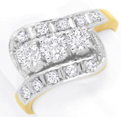 Foto 1, Diamantring mit 0,99ct River D Brillanten und Diamanten, S6517