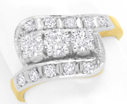 Foto 2, Diamantring mit 0,99ct River D Brillanten und Diamanten, S6517