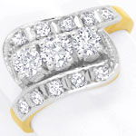 Diamantring mit 0,99ct River D Brillanten und Diamanten