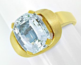Foto 1, Aquamarin Ring massives Top Design Gelbgold Luxus! Neu!, S6534