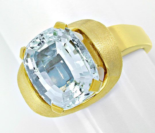 Foto 2, Aquamarin Ring massives Top Design Gelbgold Luxus! Neu!, S6534