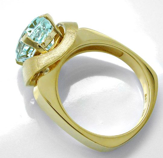 Foto 3, Aquamarin Ring massives Top Design Gelbgold Luxus! Neu!, S6534