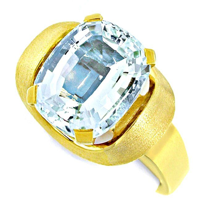 Aquamarin Ring massives Top Design Gelbgold Luxus! Neu!, Edelstein Farbstein Ring