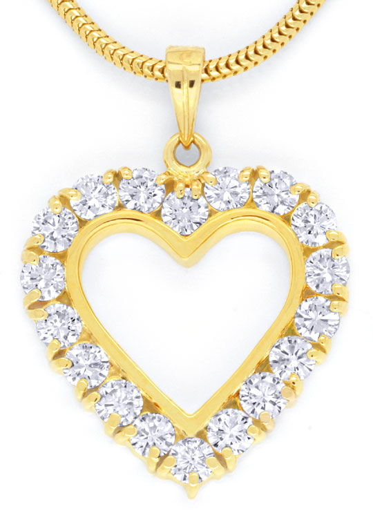 Foto 2, Brillant-Herz-Kollier 1,21ct Diamanten, 18K Gold Luxus!, S6588