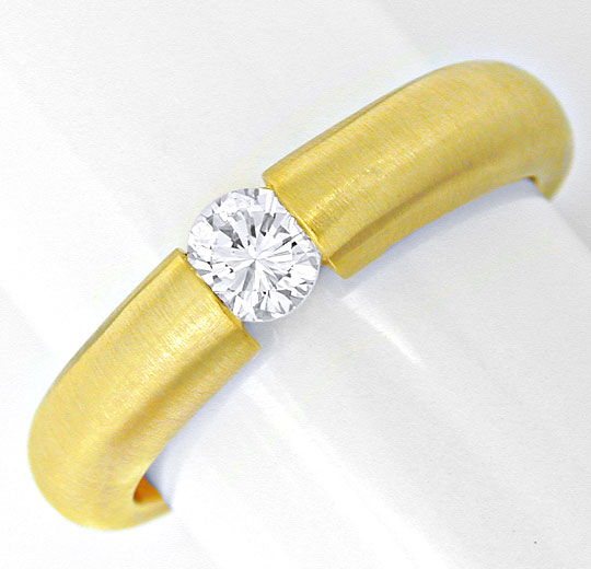 Foto 2, Brillant Spann Ring 18K Gelbgold, River! VS Luxus! Neu!, S6597