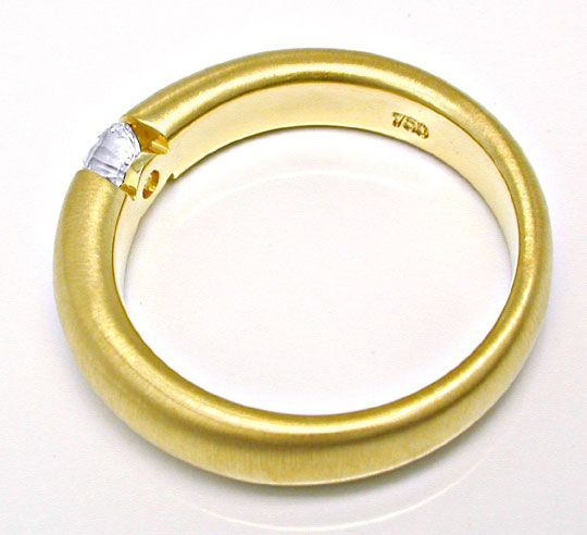 Foto 3, Brillant Spann Ring 18K Gelbgold, River! VS Luxus! Neu!, S6597