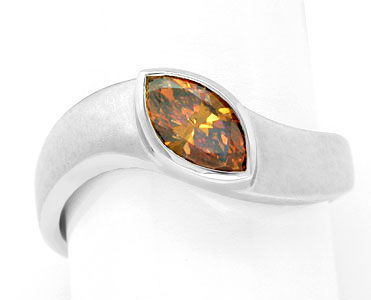 Foto 1, Diamant-Ring Fancy Intense Yellowish Orange Luxus! Neu!, S6601