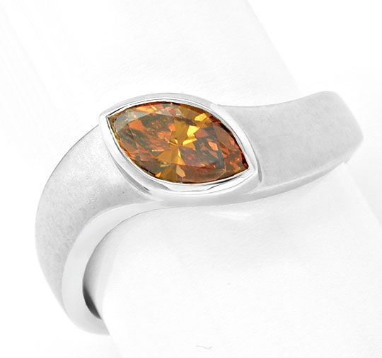 Foto 2, Diamant-Ring Fancy Intense Yellowish Orange Luxus! Neu!, S6601