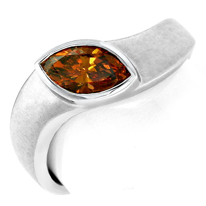 Diamant Ring Fancy Intense Yellowish Orange Luxus! Neu!, Designer Ring