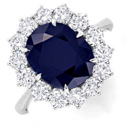 Foto 1, Super Brillant Ring 4,7ct Riesen Safir / Saphir, Luxus!, S6612