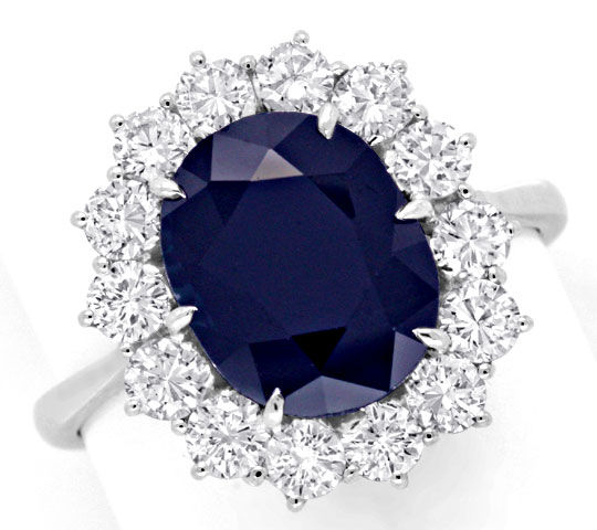 Foto 2, Super Brillant Ring 4,7ct Riesen Safir / Saphir, Luxus!, S6612