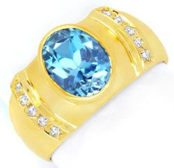 Foto 1, Brillant-Goldring 3,3ct Blauer Topas, 10 Diamanten Shop, S6618