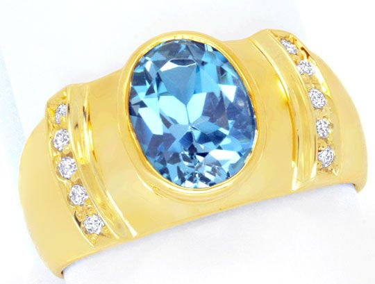 Foto 2, Brillant Goldring 3,3ct Blauer Topas, 10 Diamanten Shop, S6618