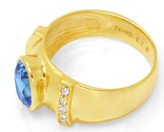 Foto 3, Brillant Goldring 3,3ct Blauer Topas, 10 Diamanten Shop, S6618