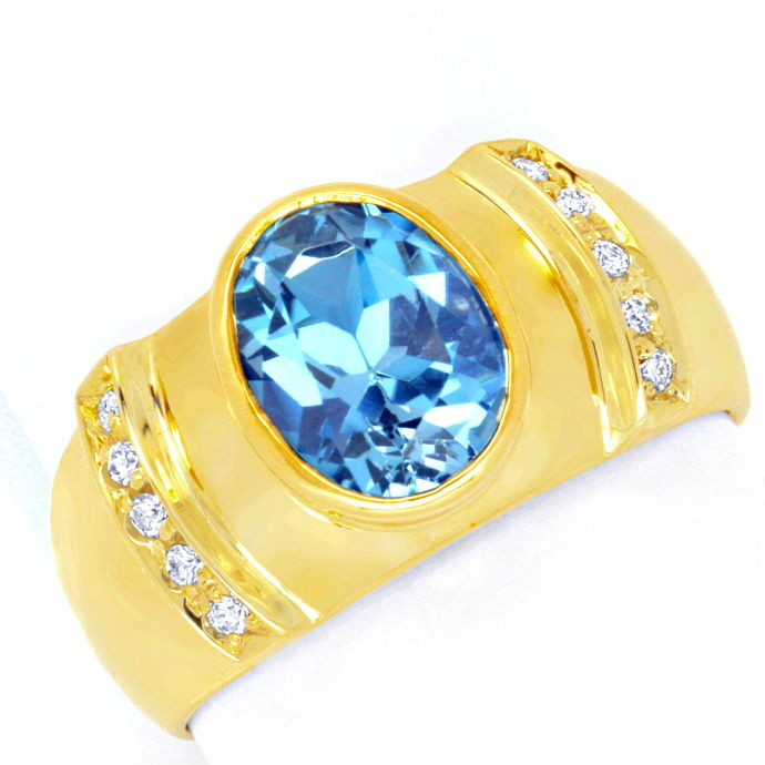 Brillant Goldring 3,3ct Blauer Topas, 10 Diamanten Shop, Edelstein Farbstein Ring