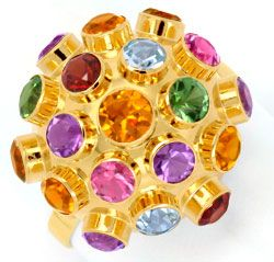 Foto 1 - Goldring Citrine Amethyste Granate Topas Spinell Luxus!, S6620