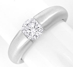 Foto 1, Brillant Spann Ring 0,90ct Top Wesselton 18K Luxus! Neu, S6649