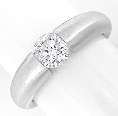 Foto 2, Brillant Spann Ring 0,90ct Top Wesselton 18K Luxus! Neu, S6649
